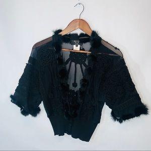 NWOT a&a by angel black wool yarn mesh cardigan